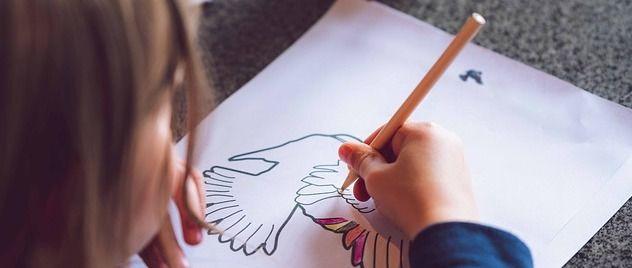 child coloring bird