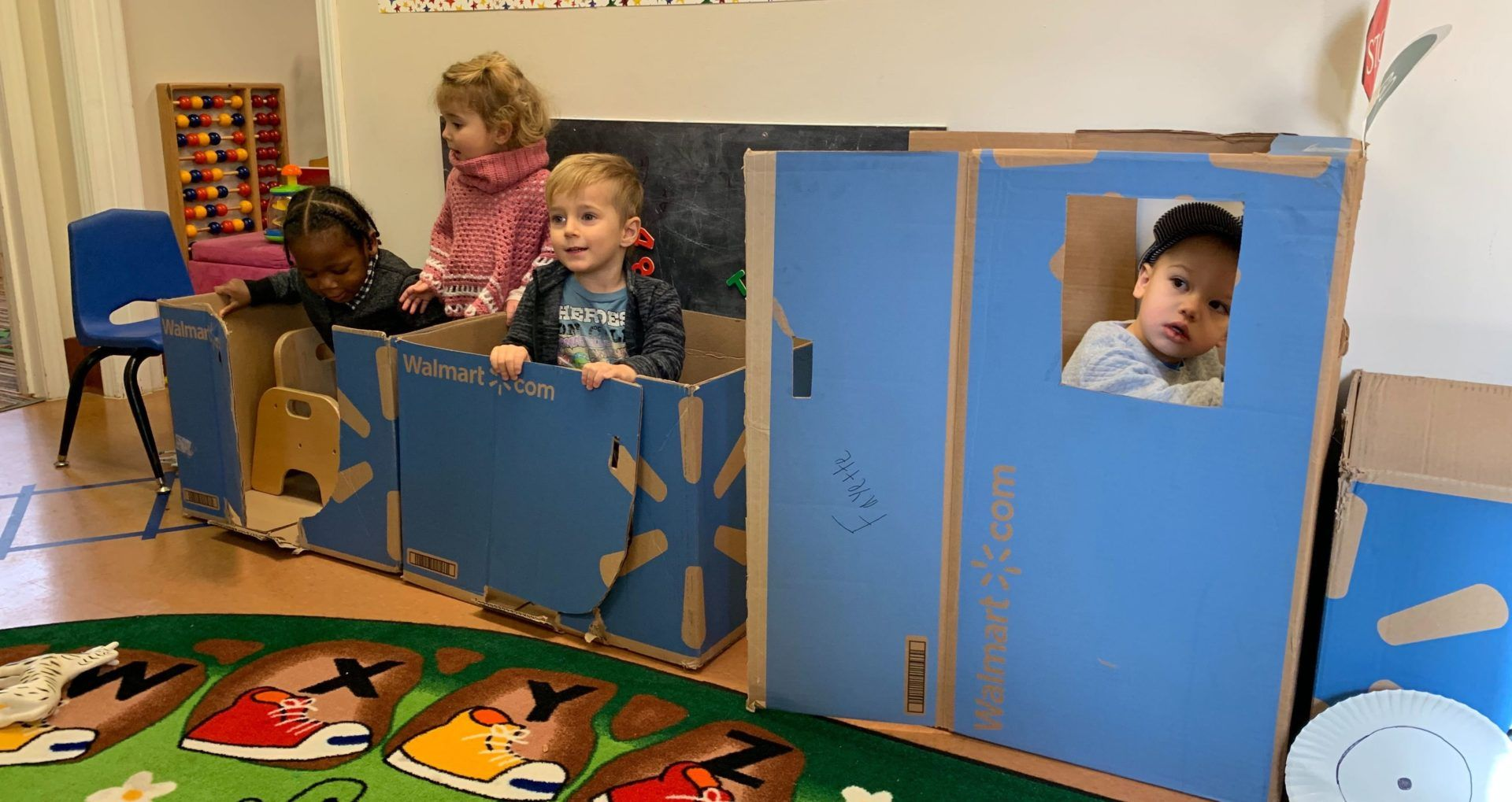kids in box train