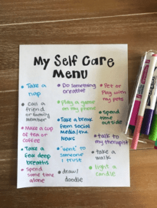 a menu of tips for self care