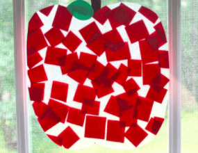 tissue paper squares in the shape of an apple