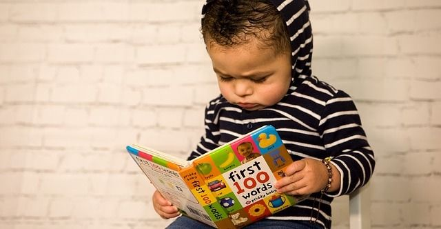 """toddler staring at """"first 100 words"""" book"""