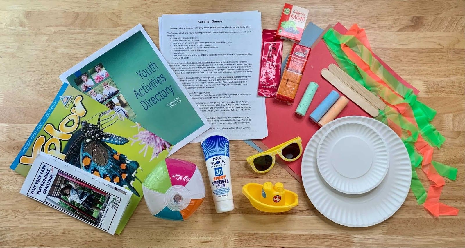 items in the summer activity kit